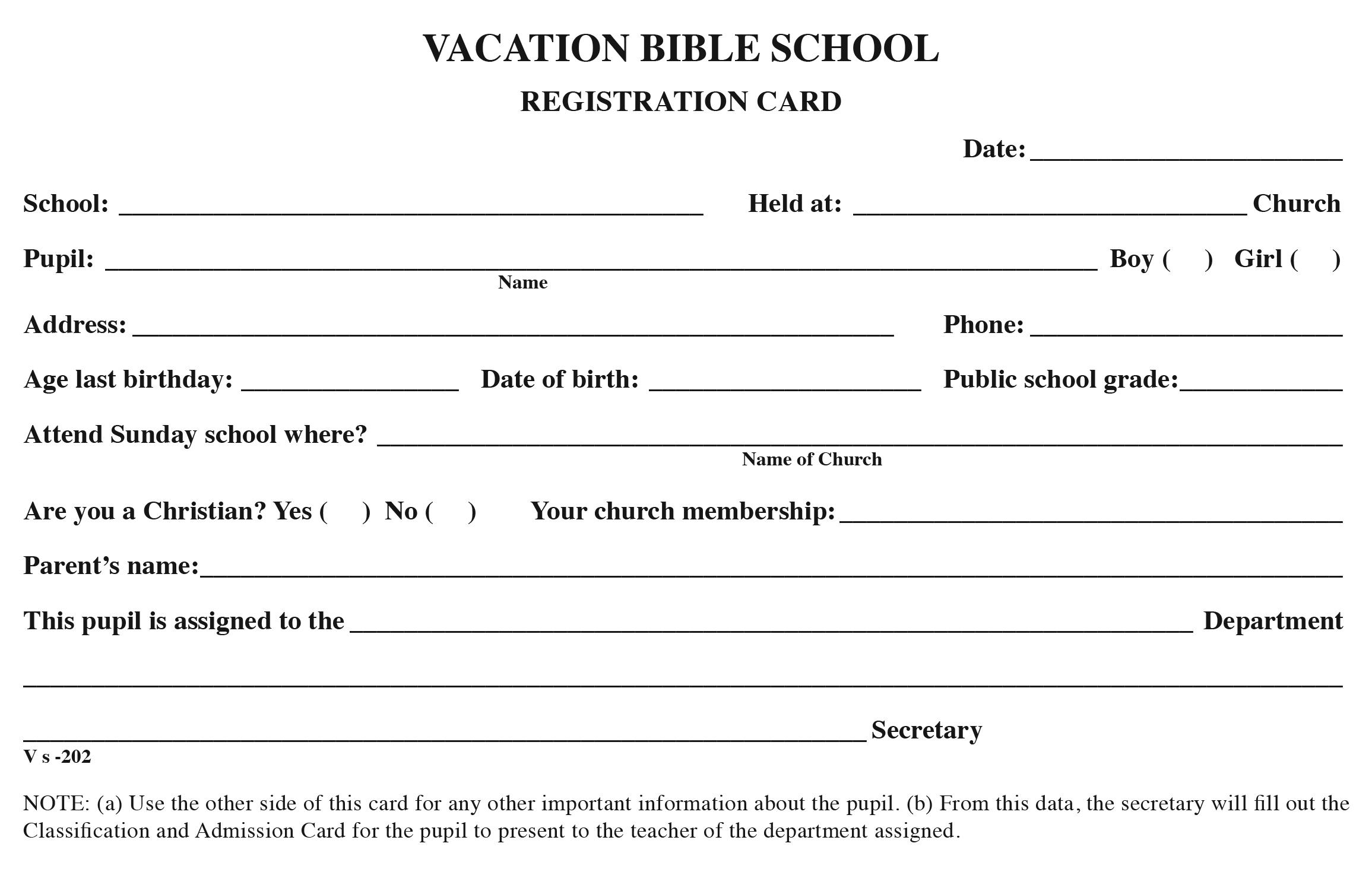 vbs registration cards sunday school publishing board