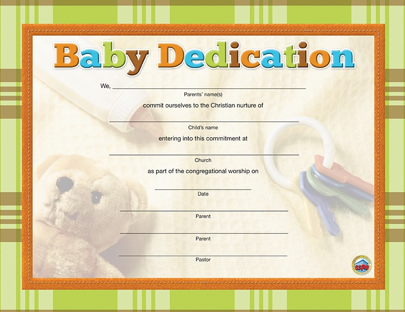 Baby Dedication Certificate
