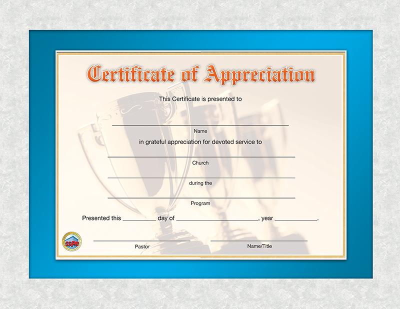 Certificate of Appreciation | Sunday School Publishing Board