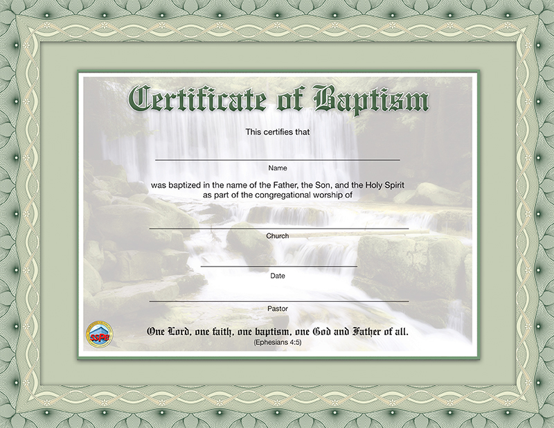 Certificate Of Baptism | Sunday School Publishing Board