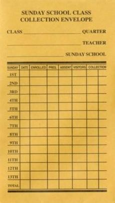 Sunday School Class Collection Envelope