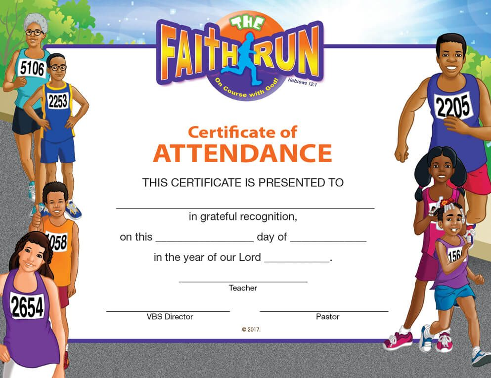 VBS The Faith Run Certificate of Attendance