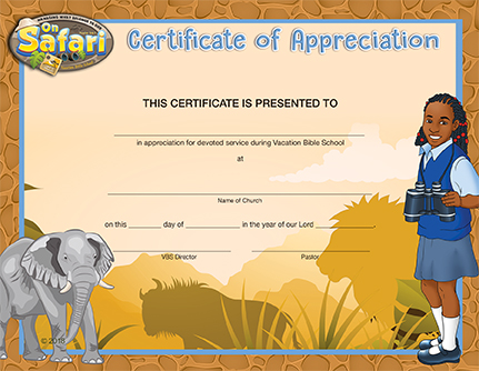 picture regarding Vbs Certificate Printable identified as VBS Upon Safari Certification of Appreciation